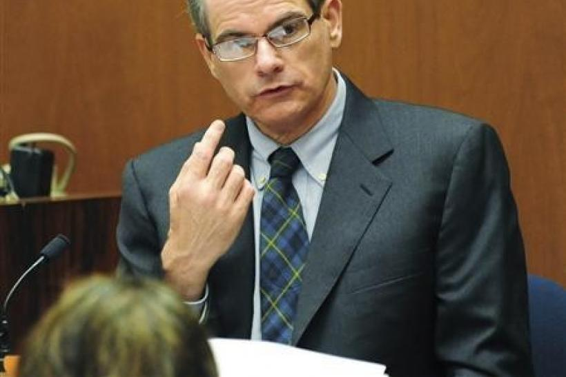 Dr. Christopher Rogers, deputy medical examiner at the Los Angeles Coroner's Office is questioned by the prosecution during Dr. Conrad Murray's trial in the death of pop star Michael Jackson in Los Angeles, California