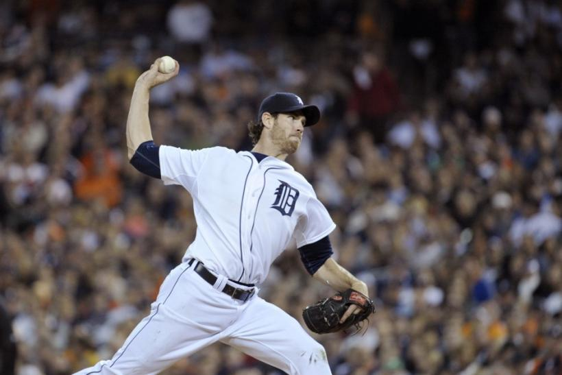 Detroit Tigers starting pitcher Doug Fister throws against the Texas Rangers in the seventh inning of Game 3 of the MLB American League Championship Series baseball playoffs in Detroit