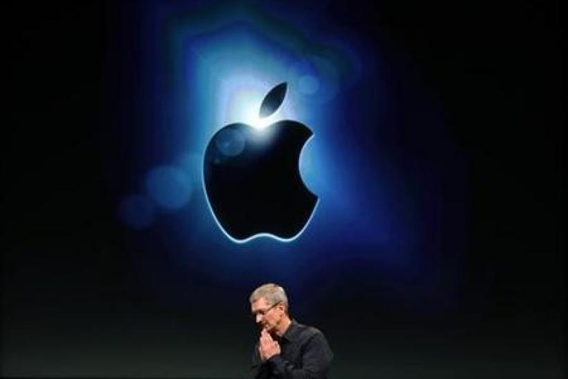 Apple CEO Tim Cook speaks at Apple headquarters in Cupertino, California