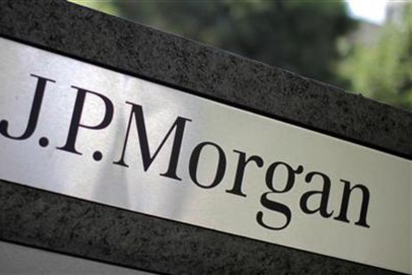 A sign is seen outside the JPMorgan office in Los Angeles