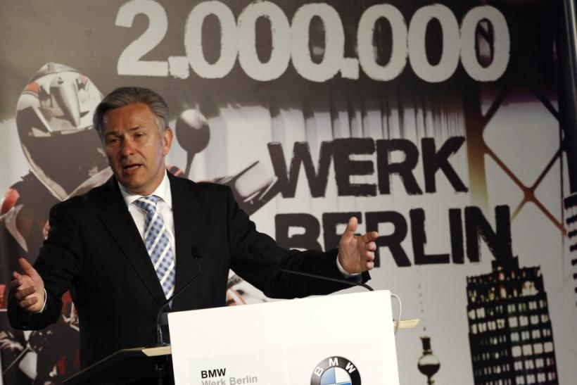 Berlin's Mayor Wowereit gives speech at the BMW motorcycle factory in Berlin