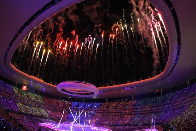 Fireworks are seen over Omnilife Stadium during the opening ceremony of the Pan American Games in Guadalajara