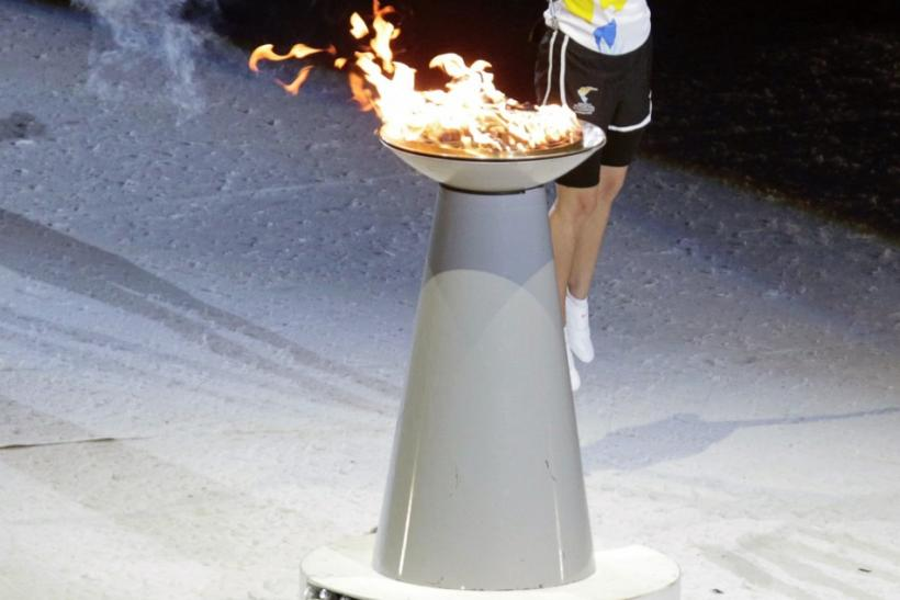 Paola Espinosa lights the flame at the opening ceremony of the Pan American Games in Guadalajara