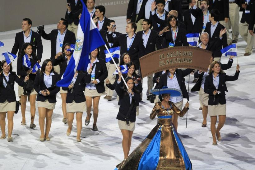 El Salvador's flag bearer Pamela Benitez leads her country's contingent into the Omnilife Stadium during the opening ceremony the Pan American Games in Guadalajara