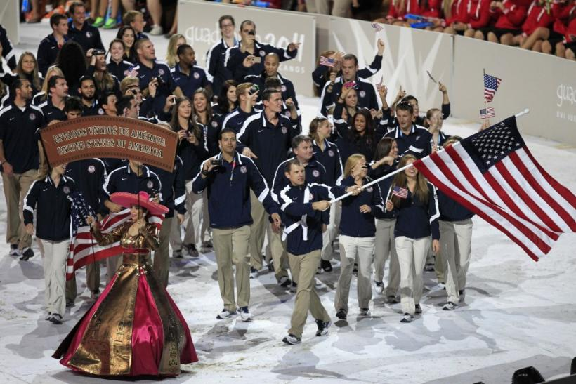 The U.S. team enters the stadium lead by flag bearer Jason Read at the opening ceremony of the Pan American Games in Guadalajara