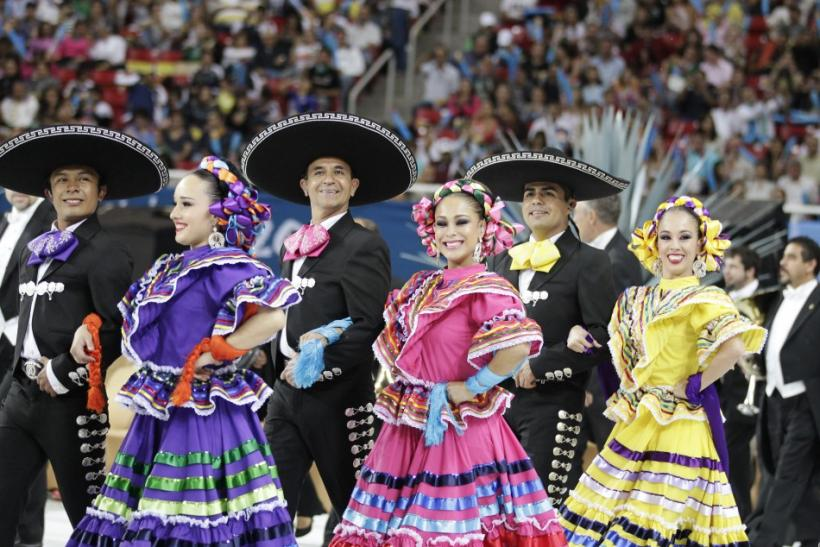 Mexican folk dancers perform during the opening ceremony of the Pan American Games in Omnilife Stadium in Guadalajara