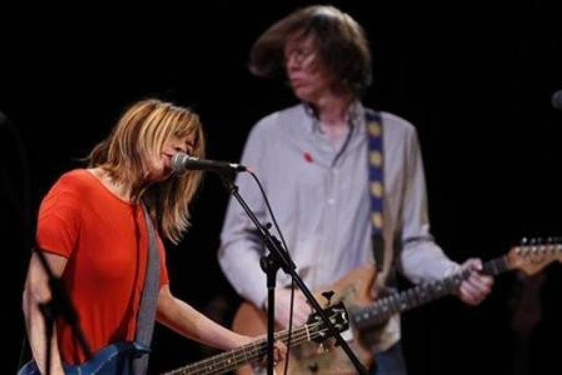 Kim Gordon (L) and Thurston Moore of the band Sonic Youth perform at the Miller Theatre at Columbia University School of the Arts' ''Concert to Benefit Japan Earthquake Relief'' in New York City