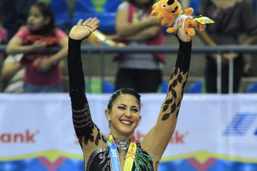 Ashley Zetlin of the U.S. celebrates her gold medal in the ball final at the Pan American Games in Guadalajara