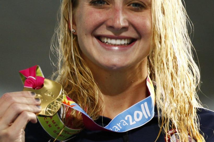 Ann Chandler of the U.S. poses with her gold medal after winning the women's 100m breaststroke final at the Pan American Games in Guadalajara