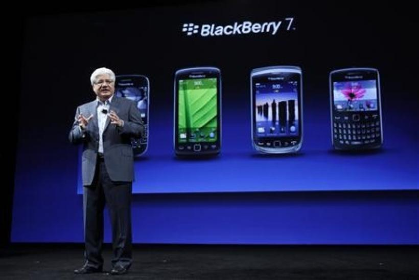 Mike Lazaridis, President and Co-CEO of Research In Motion, speaks about the line of BlackBerry 7 phones during BlackBerry's DevCon at the Moscone West Center in San Francisco, California