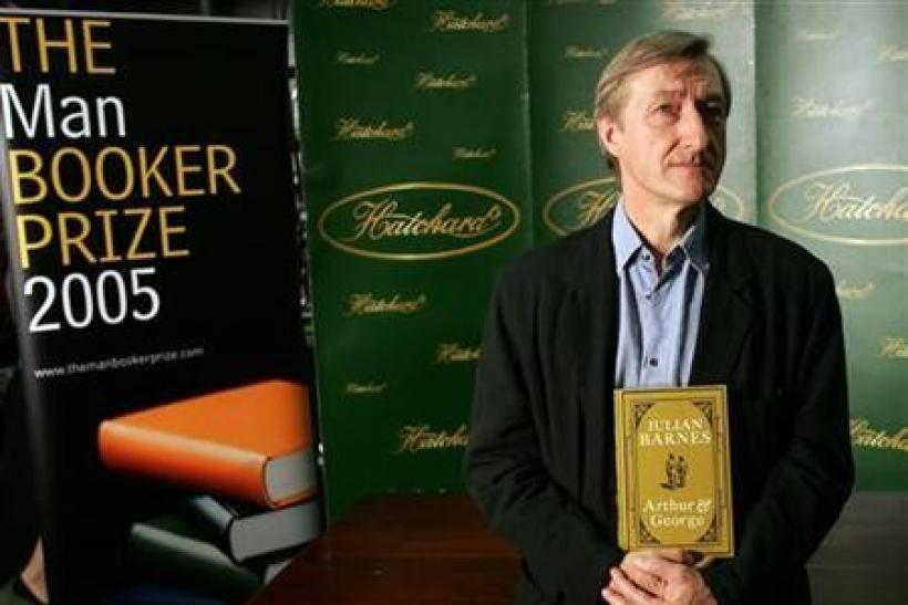 The Man Booker Prize nominated British author Julian Barnes holds his book 'Arthur and George' in London ahead of tonight's award ceremony, October 10, 2005. Barnes is favourite to win the annual literary prize of £50,000 ($88,000).