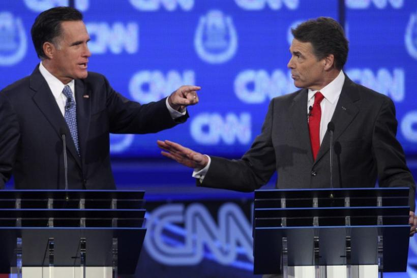 GOP candidates Romney and Perry take part in the CNN Western Republican debate in Las Vegas