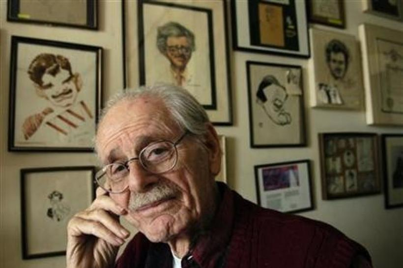 Ninety-five year old Academy of Motion Picture Arts and Sciences member Norman Corwin poses in his Brentwood, California home