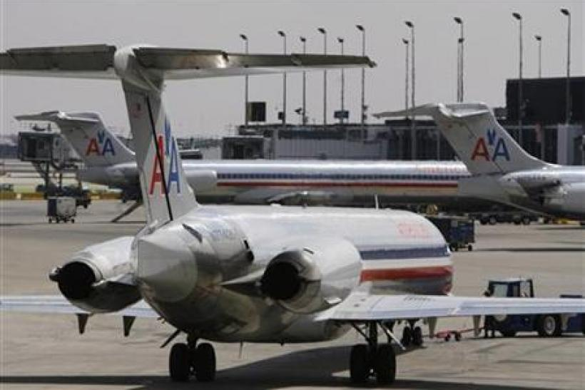 American Airlines MD-80 aircrafts sit on the tarmac at Chicago's O'Hare International Airport