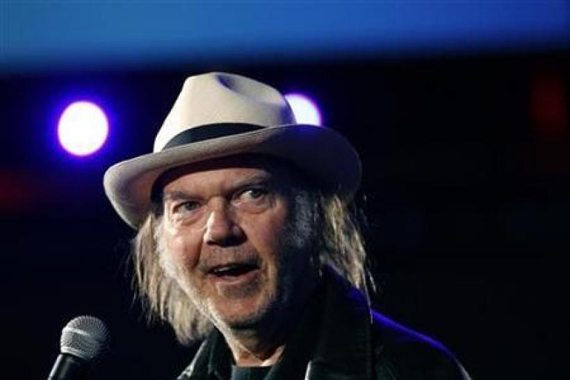 Canadian music legend Neil Young smiles while attending the Dreamforce event in San Francisco, California
