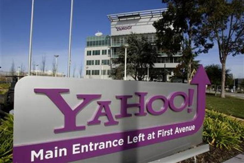 A Yahoo! signs sits out front of their headquarters in Sunnyvale