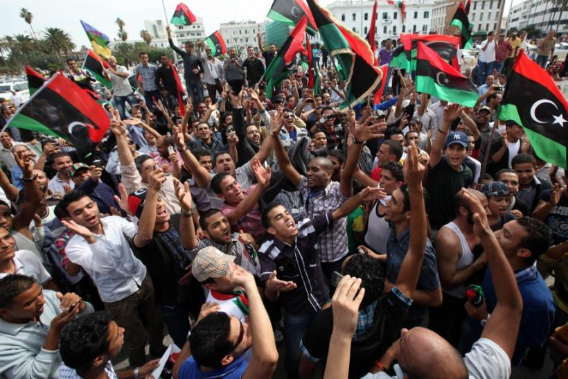Libyans celebrate at Martyrs square in Tripoli