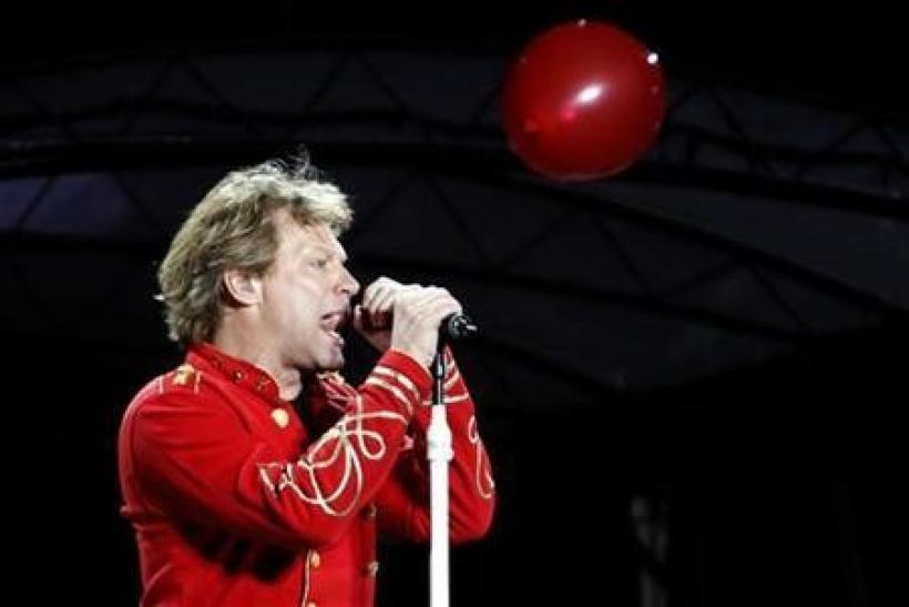 Musician Jon Bon Jovi performs at Olympic stadium ''Lluis Companys'' during the concert, part of the band's European ''Open Air Tour'', in Barcelona