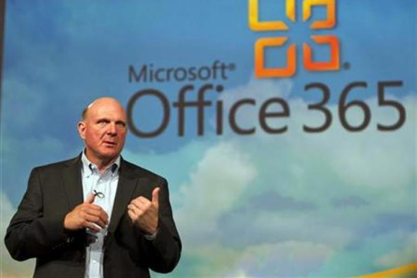 Microsoft CEO Steve Ballmer speaks at the launch of the company's Microsoft 365 cloud service in New York