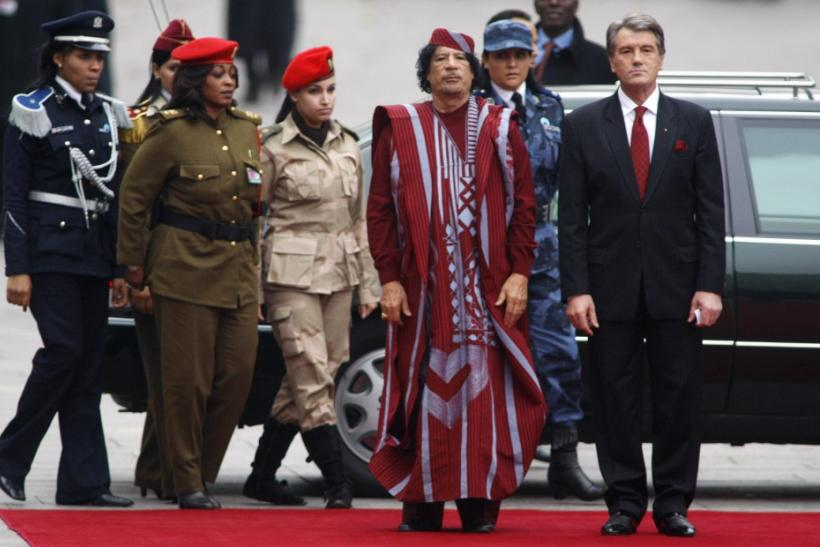 Libyan leader Gadhafi and Female Bodyguards