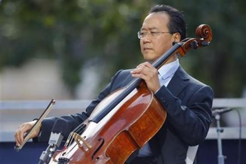 Cellist Yo-Yo Ma plays during ceremonies marking the 10th anniversary of the 9/11 attacks on the World Trade Center, in New York