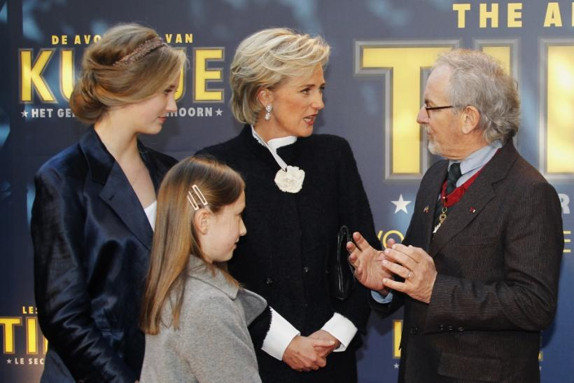 Director Spielberg talks to Belgium's Princess Astrid and her daughters during a photocall in Brussels