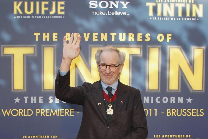 "Director Steven Spielberg poses during a photocall ahead of the world premiere of the movie ""The Adventures Of Tintin: The Secret of The Unicorn"" in Brussels October 22, 2011."
