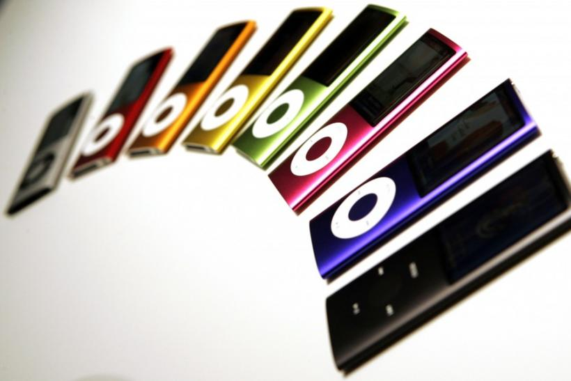 "Redesigned iPod Nano are shown on display for the media at Apple's ""Let's Rock"" media event in San Francisco, California September 9, 2008."