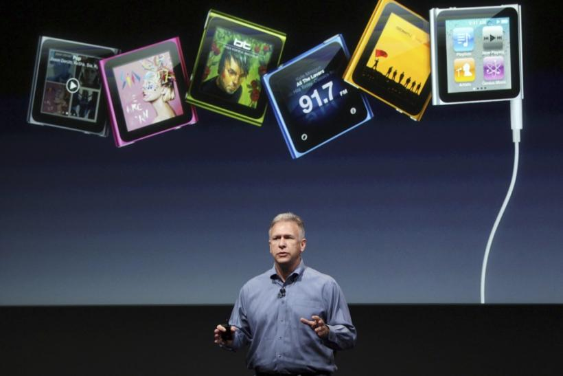 Philip Schiller, Apple's senior vice president of Worldwide Product Marketing, speaks about the iPod Nano at Apple headquarters in Cupertino, California October 4, 2011.