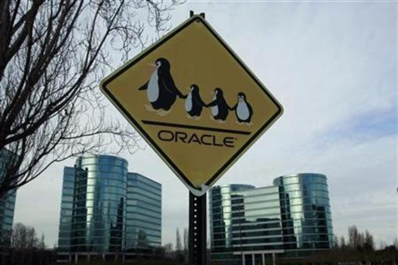 Sign shown at headquarters for Oracle Corp shown in Redwood City
