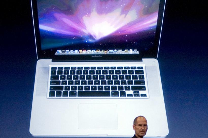 Then-Apple CEO Steve Jobs introduces the new MacBook Pro in 2008, which was the first model with a unibody aluminum shell.