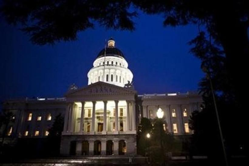 The exterior shot of the State Capitol is seen as California legislators work late into the night to pass a $40 billion budget in the building in Sacramento, California