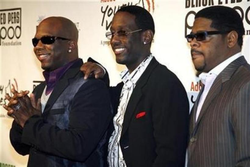 Members of Boyz II Men arrive for the Black Eyed Peas Peapod Foundation Benefit Concert at the Conga Room at L.A. Live in Los Angeles, California