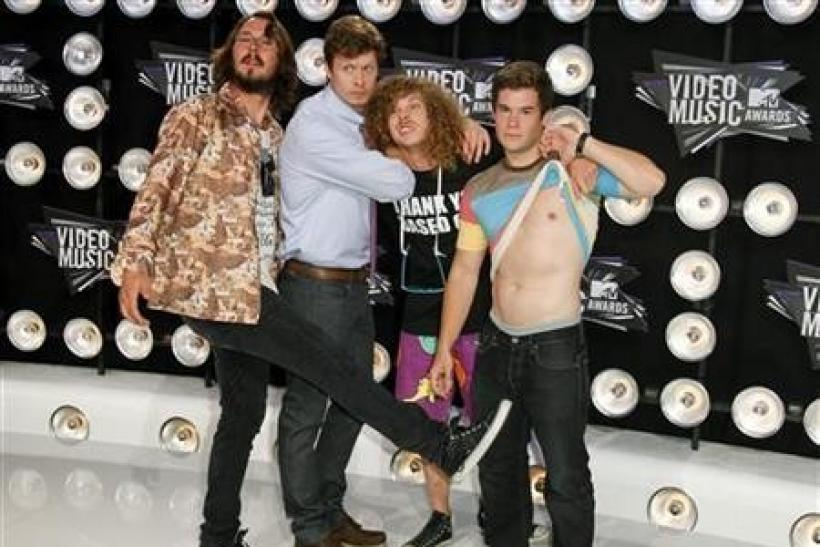 The cast of Comedy Central's sitcom ''Workaholics'' arrive at the 2011 MTV Video Music Awards in Los Angeles