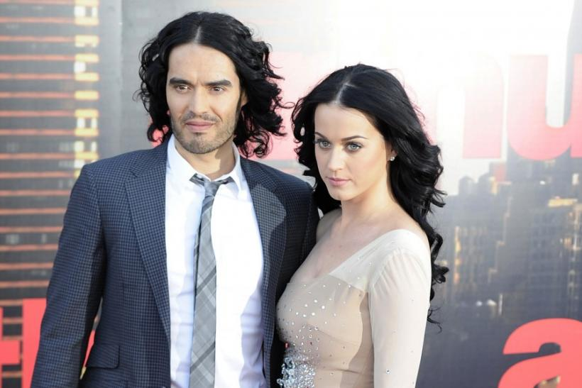 Russell Brand and Katy Perry arrive for the European premiere of the film 'Arthur' in London