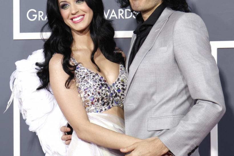 Singer Katy Perry and husband Russell Brand pose on arrival at the 53rd annual Grammy Awards in Los Angeles
