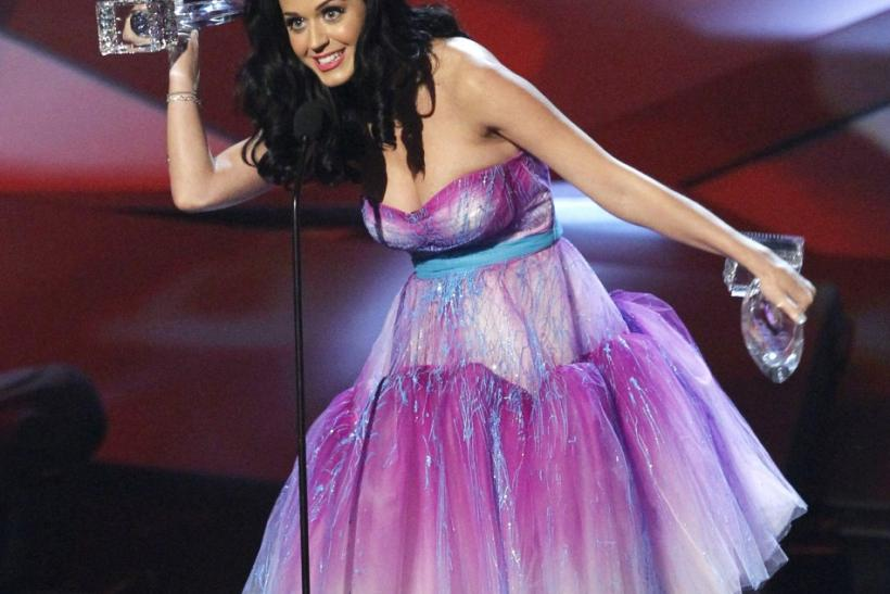 Katy Perry speaks after being presented with her prizes at the 2011 People's Choice Awards in Los Angeles