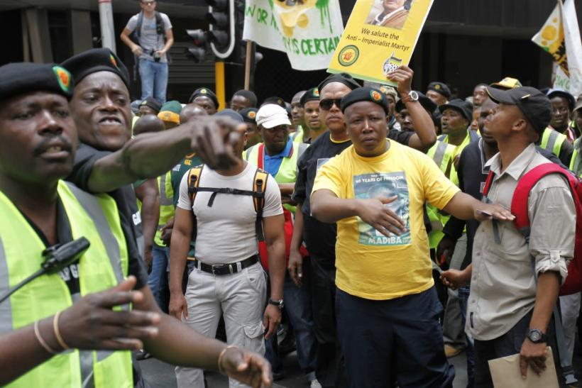 African National Congress Youth League leader Malema takes part in a march in Johannebsurg