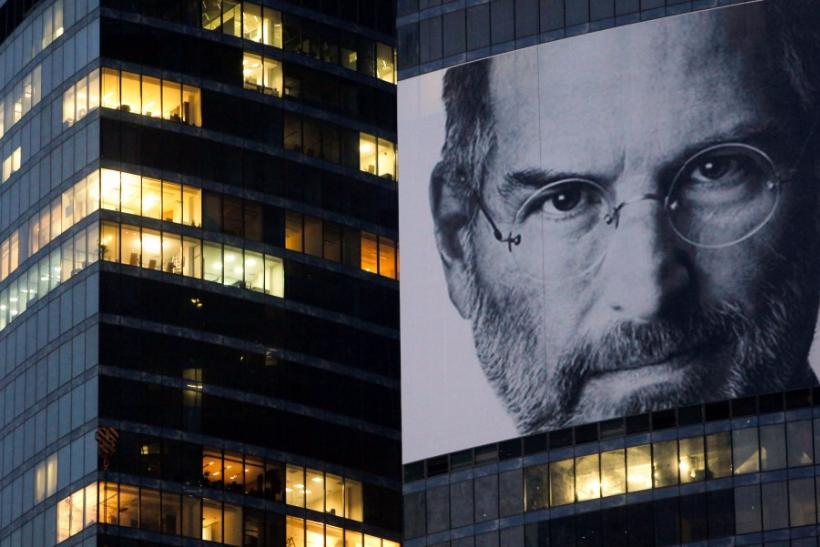 A portrait of Apple co-founder and former CEO Steve Jobs is placed at the Federation Tower skyscraper Moscow's new business district