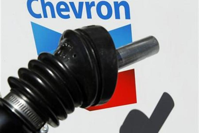 A Chevron gas pump is shown at a Chevron gas station in Encinitas