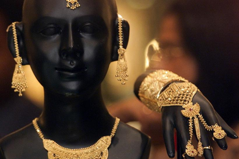 Gold jewelry display in Calcutta
