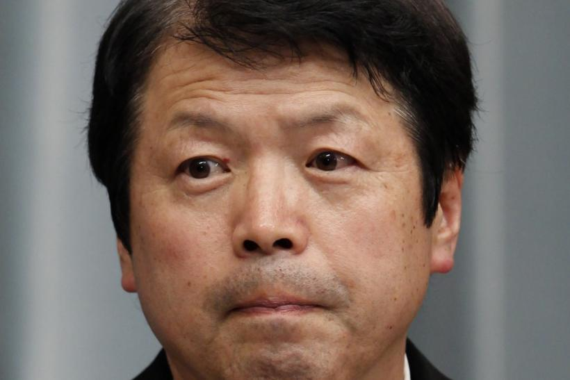 Japan's newly-appointed Justice Minister Hiraoka attends at a news conference in Tokyo