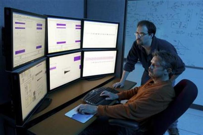Department of Homeland Security (DHS) researchers use advanced modeling and simulation equipment as they work on the DHS Control Systems Security Program (CSSP) in this handout photo taken April 28, 2010 at the Idaho National Laboratory in Idaho Falls, Id
