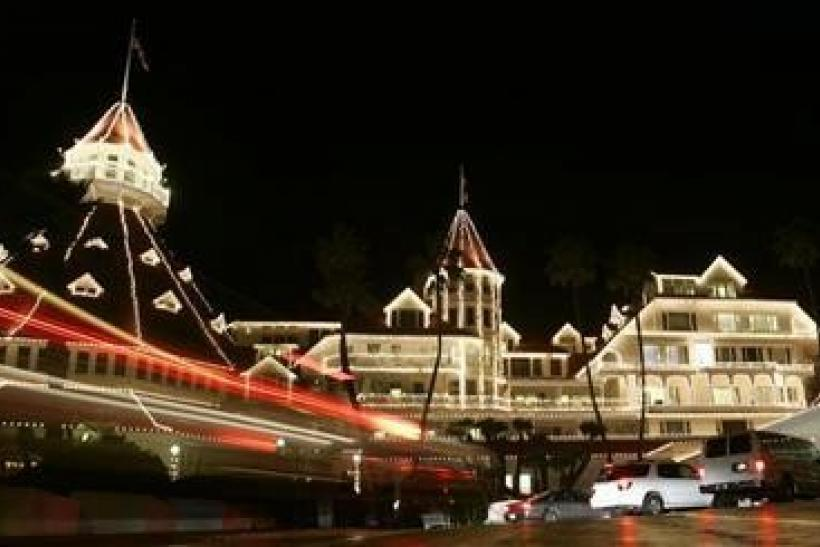 Thousands of white lights decorate the front of Hotel del Coronado on the island of Coronado in San Diego