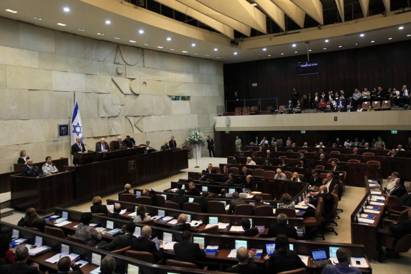 A general view shows the plenum as Israel's Prime Minister Netanyahu speaks at the Israeli parliament in Jerusalem