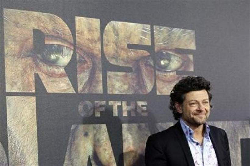 Cast member Andy Serkis poses at the premiere of ''Rise of the Planet of the Apes'' at the Grauman's Chinese theatre in Hollywood, California