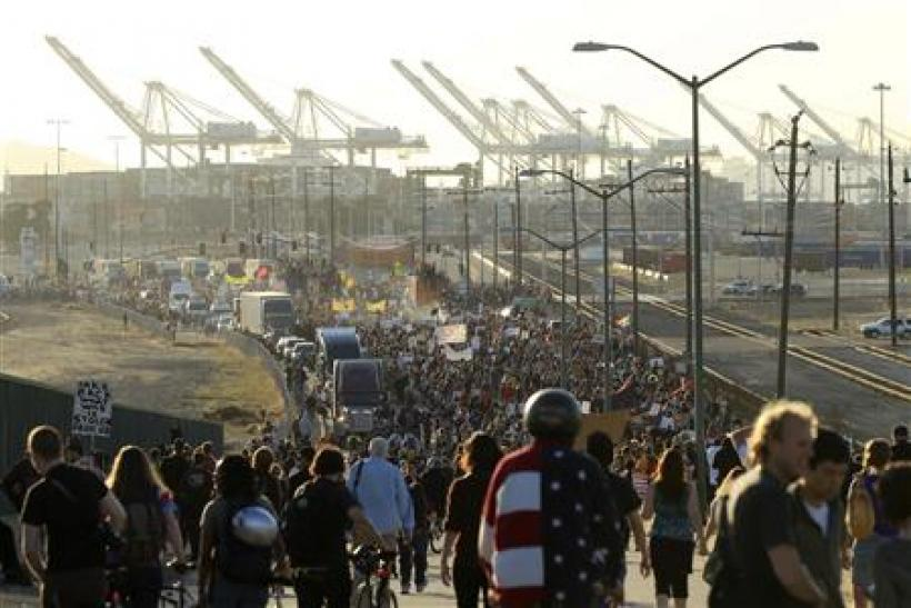 Demonstrators converge on the Port of Oakland, California, during a general strike called by the Occupy Oakland movement
