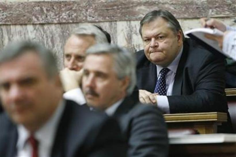 Greek Finance minister Venizelos attends at a Panhellenic Socialist Movement parliamentary group meeting in Athens