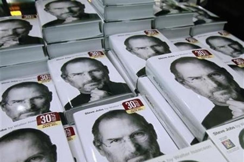 Copies of the new biography of Apple CEO Steve Jobs by Walter Isaacson are displayed at a bookstore in New York