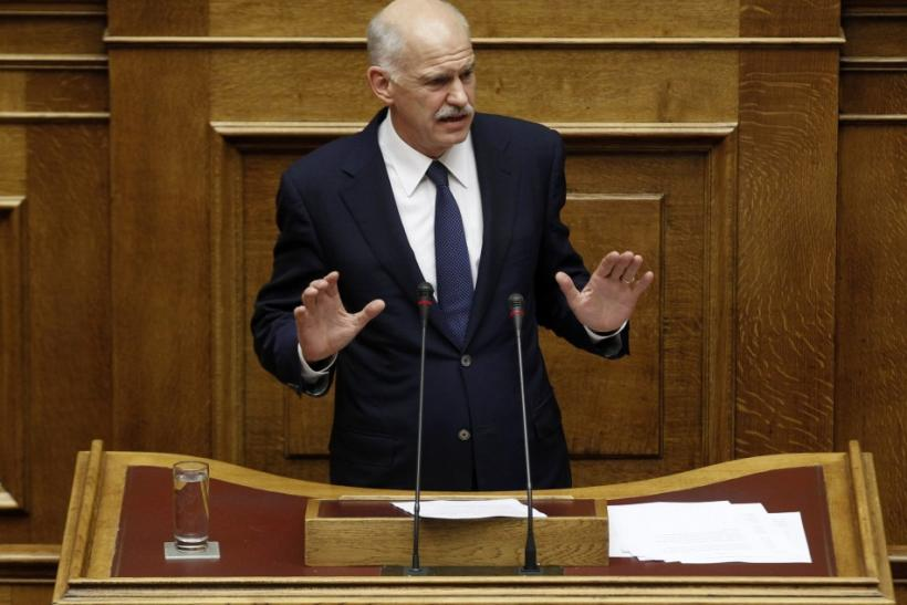 Greek Premier Papandreou addresses the Greek parliament in Athens
